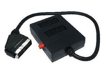 2 Way Black Scart Splitter Box with Switch