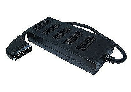 5 Way Black Scart Splitter Box Auto