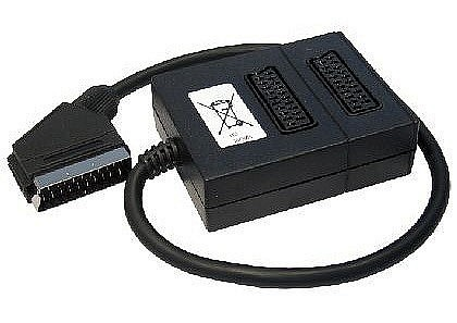 2 Way Black Scart Splitter Box Auto