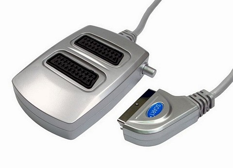 2 Way Silver Scart Splitter Box with Switch
