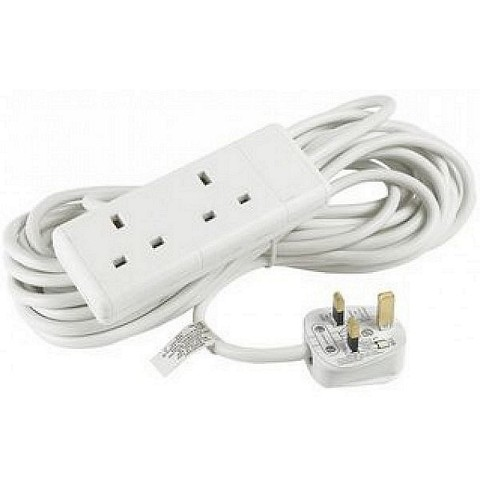 2 Gang Way UK 13A Trailing Socket Mains Power Extension Lead Whit