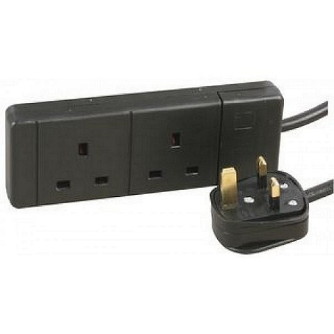 2 Gang Way UK 13A Trailing Socket Mains Power Extension Lead Black