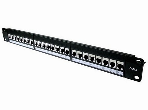 Cat6A Shielded 24 Port Patch Panel Rack Mountable 1U 19""